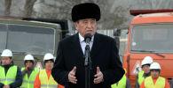 Президент Сооронбай Жээнбеков бүгүн Бишкек шаарынын түштүк бөлүгүнө курулчу парк аймагына барган учурунда