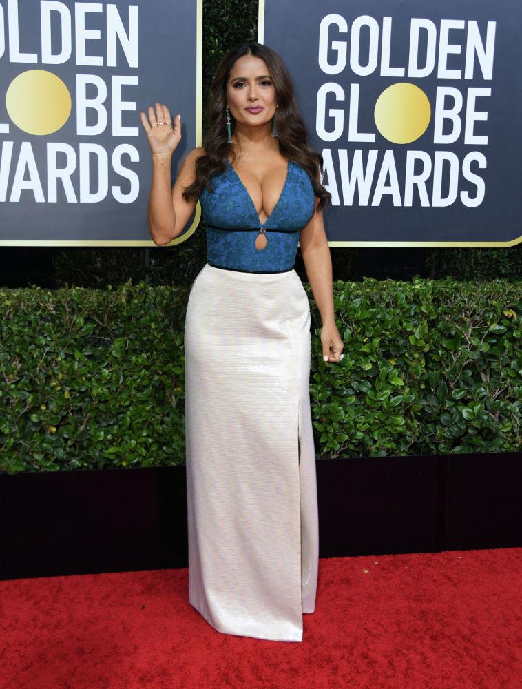 Актриса Сальма Хайек на церемонии вручения конопремии Золотой глобус в Калифорнии