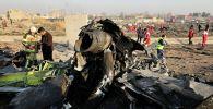 Обломки украинского пассажирского лайнера Boeing 737-800 потерпевшего крушение неподалеку от аэропорта имени Имама Хомейни в Тегеране (Иран).
