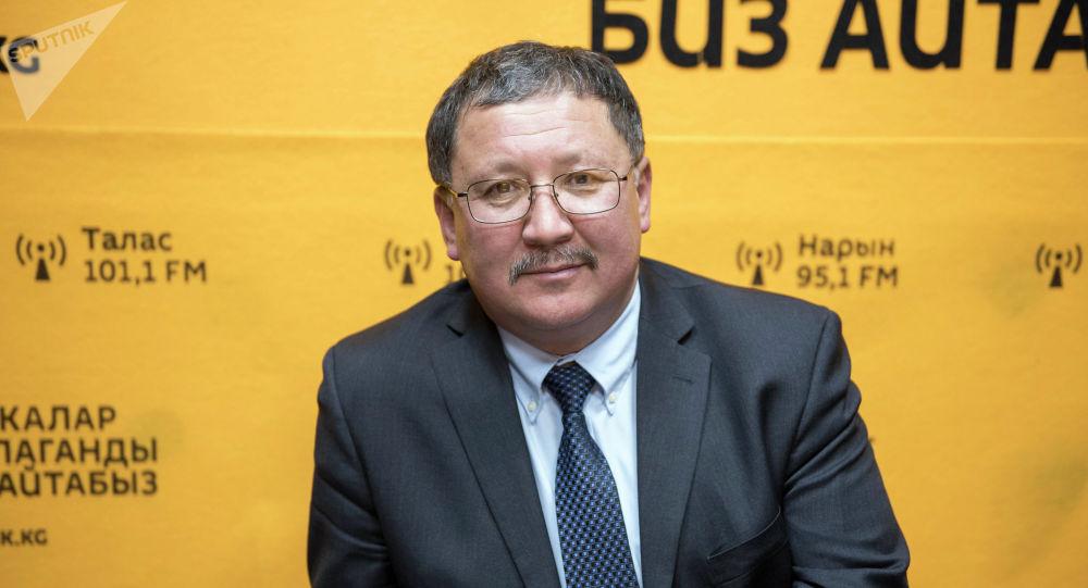 Заместитель председателя Государственного комитета промышленности, энергетики и недропользования КР Карыбек Ибраев во время беседы на радио
