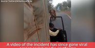 Разъяренный слон напал на мини-грузовик с пассажирами