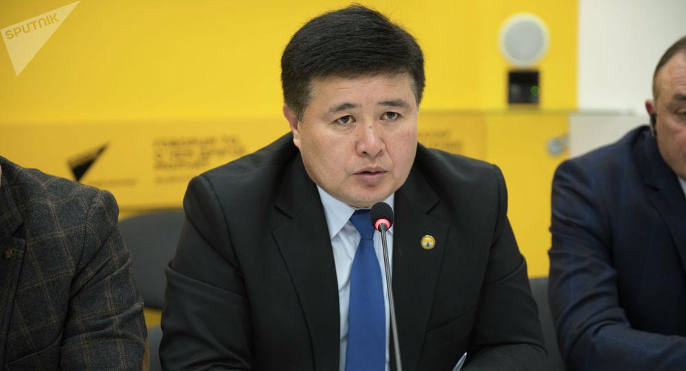 Представитель Государственного агентства охраны окружающей среды и лесного хозяйства (ГАООСЛХ) Алмаз Мусаев во время круглого стола в мультимедийном пресс-центре Sputnik Кыргызстан