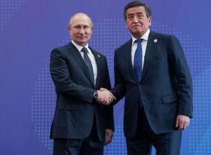 Кыргызстандын президенти Сооронбай Жээнбеков жана Россиянын президенти Владимир Путин. Архив