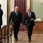 Президент РФ Владимир Путин и премьер-министр Михаил Мишустин перед встречей с новым правительством