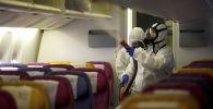 Члены экипажа дезинфицируют кабину самолета из-за распространения коронавируса. Архивное фото
