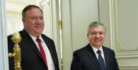 Государственный секретарь США Майк Помпео и президент Узбекистана Шавкат Мирзиеев на встрече в Ташкенте, Узбекистан. 3 февраля 2020 года