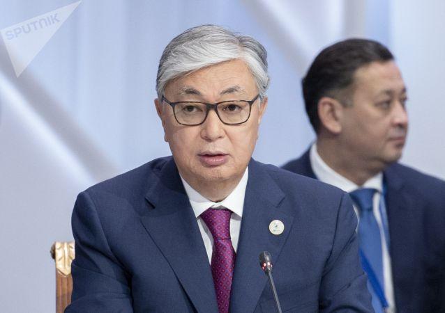 Президент Казахстана Касым-Жомарт Токаев на заседании Высшего Евразийского экономического совета и глав приглашенных государств во Дворце независимости в Нур-Султане.