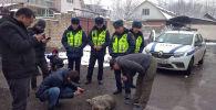 В Бишкеке возле 41-й школы по улице Республиканской милиционеры поймали волка
