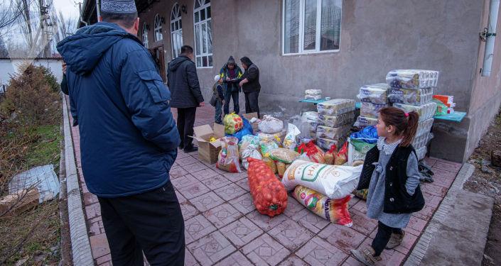 Сбор гуманитарной помощи беженцам из Казахстана, прибывшим в Кыргызстан из-за беспорядков в Кордайском районе