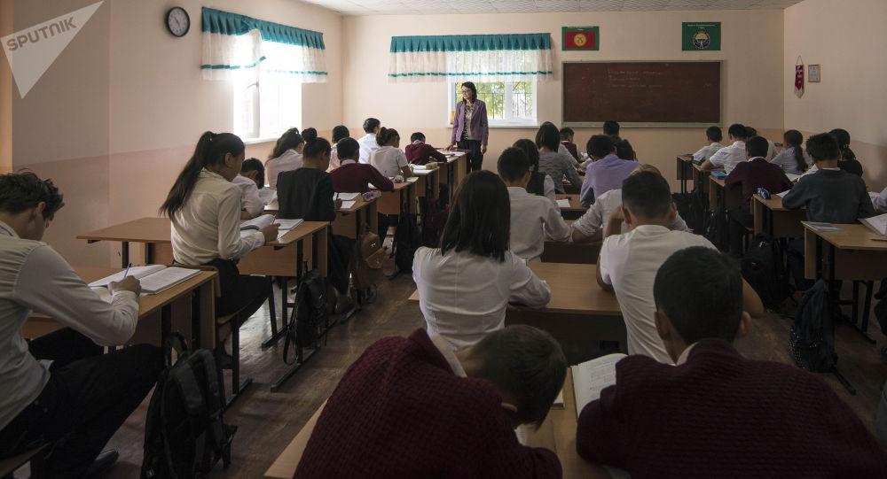 Преподаватель ведет урок в школе. Архивное фото