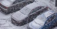 Автомобили, занесенные снегом, во дворе дома. Архивное фото