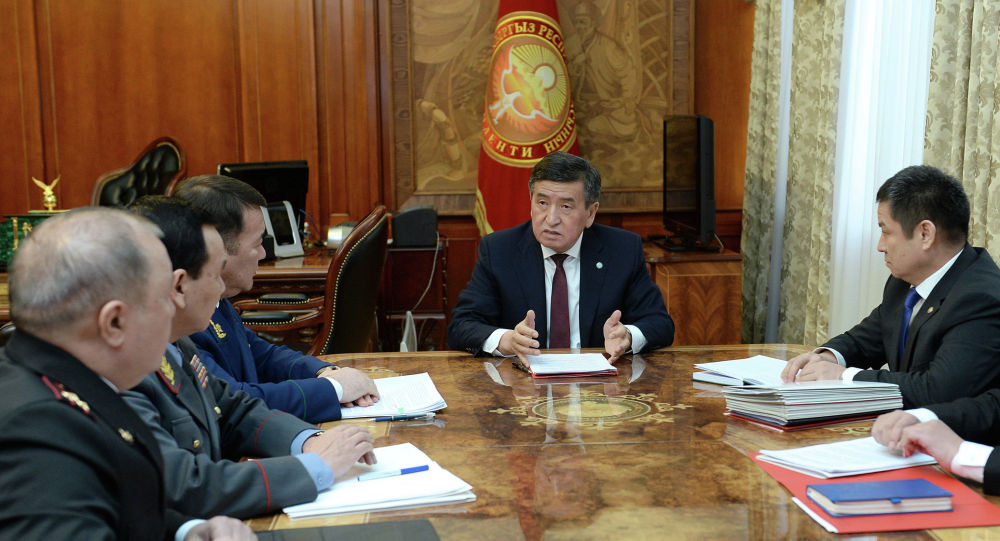 Президент КР Сооронбай Жээнбеков на заседании совбеза. Архивное фото
