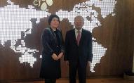 Чрезвычайный и полномочный посол Кыргызской Республики в Республике Корея Динара Кемелова встретилась с председателем CJ Group  Кён Шик Сон. 17 февраля 2020 года