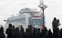 Представители СМИ смотрят на круизное судно Diamond Princess на круизном терминале пристани Дайкоку в Иокогаме в Токио. Япония, 19 февраля 2020 года