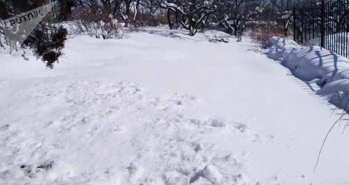 В Чолпон-Ате выпали обильные осадки — высота снежного покрова около 60 сантиметров