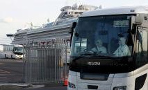 Diamond Princess круиздик лайнердин жургунчулордү ташыган автобус