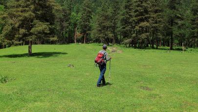 Турист идет по лугу. Архивное фото