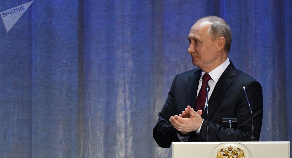 Президент РФ Владимир Путин на церемонии открытия Года России в Кыргызстана в Москве