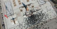 Сторонники Садыра Жапарова во время митинга на площади Ала-Тоо с требованием освободить политика в Бишкеке. Фото сделано дроном с высоты