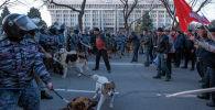 Сотрудники правоохранительных органов с собаками во время силового разгона сторонников Садыра Жапарова на площади Ала-Тоо в Бишкеке