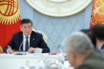 Президент КР Сооронбай Жээнбеков выступает на заседании Совета безопасности. Архивное фото