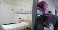 Ливанский служащий в защитной маске смотрит на кровать в палате, где проходит лечение первый случай заболевания коронавирусом. Архивное фото