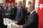 Президент России и турецкий лидер встретились в Москве. Переговоры длились более шести часов. Основной темой встречи стало обострение ситуации в идлибской зоне деэскалации.