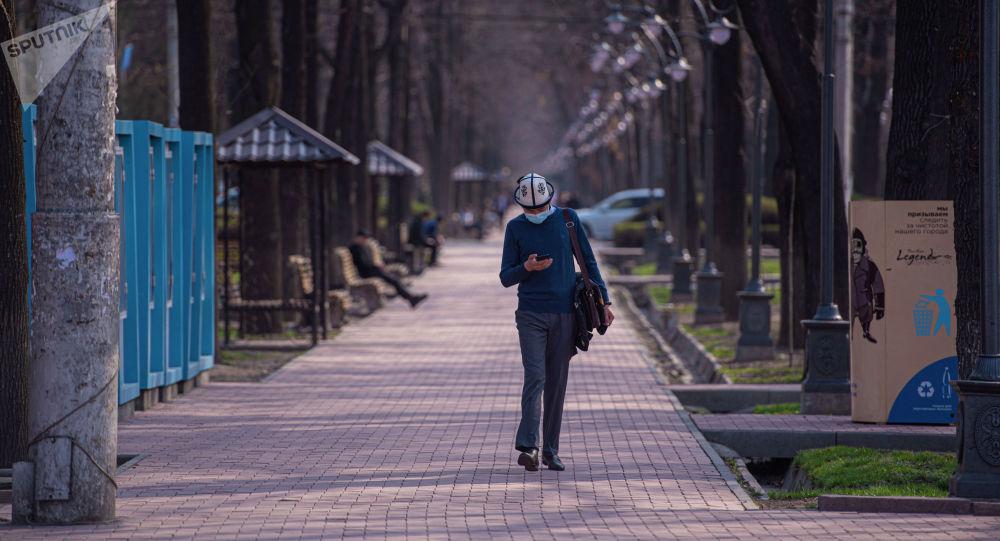 Мужчина в медицинской маске идет по проспекту Эркиндик в Бишкеке. Архивное фото