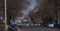Автомобильное движение на проспекте Чуй в Бишкеке