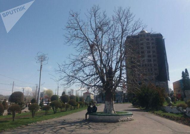 Вид на пустующую улицу в Оше после введения чрезвычайной ситуации в Кыргызстане из-за коронавируса