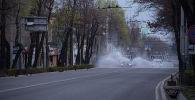Муниципальные службы дезинфицируют улицы Бишкека, во время режима чрезвычайного положения из-за ситуации с коронавирусом. Архивное фото