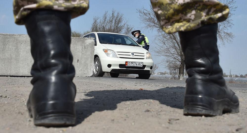 Военнослужащие Национальной гвардии и сотрудники патрульной милиции в лицевых масках видны на контрольно-пропускном пункте, установленном для предотвращения распространения коронавирусной болезни COVID-19, недалеко от села Маевка. Архивное фото
