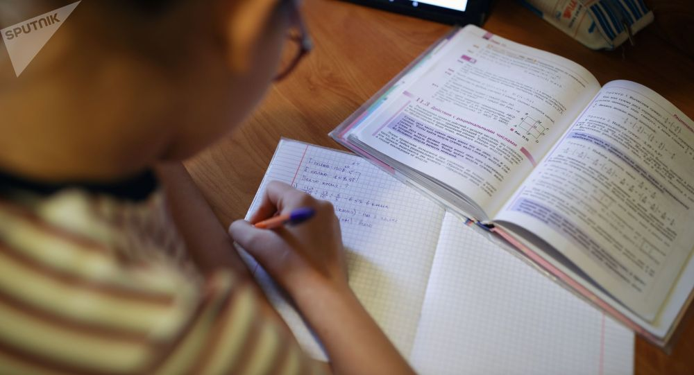 Школьница во время обучения дома. Архивное фото