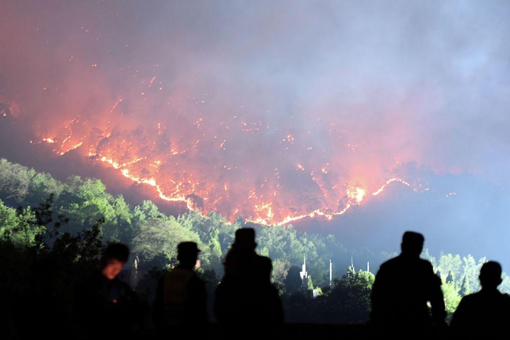 Пожарные работают на месте лесного пожара в юго-западной китайской провинции Сычуань. 31 марта 2020 года