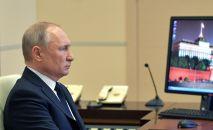 8 апреля 2020. Президент РФ Владимир Путин проводит в режиме видеоконференции совещание с руководителями субъектов РФ.
