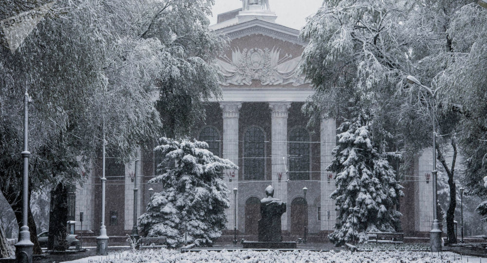 Вид на здание Национального академического театра оперы и балета имени А. Малдыбаева во время снегопада в Бишкеке. Архивное фото