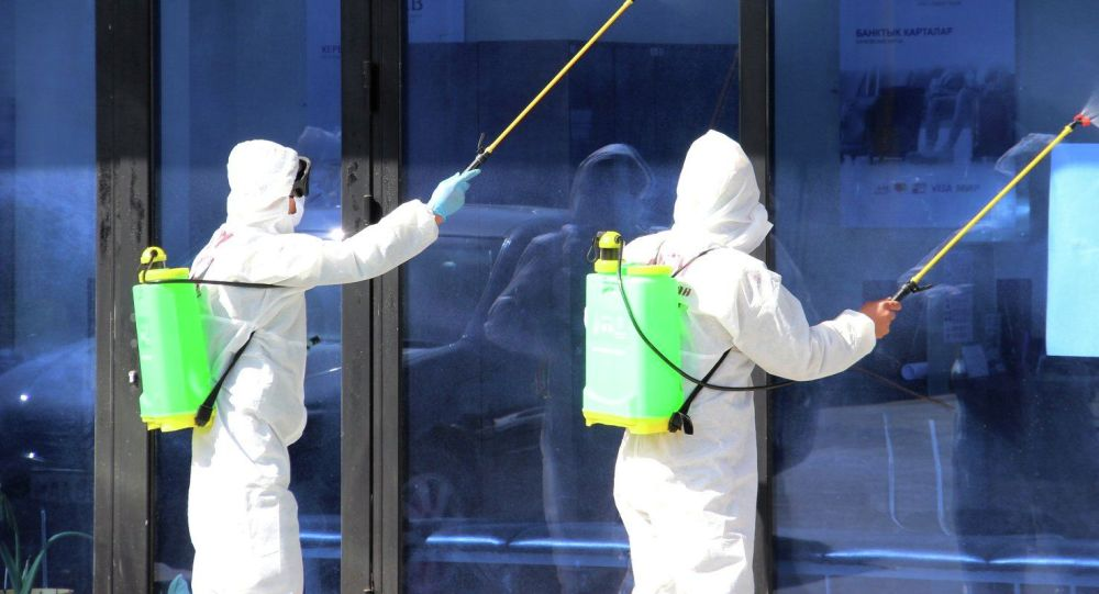 Специалисты городской дезинфекционной станции во время дезинфекции зданий. Архивное фото