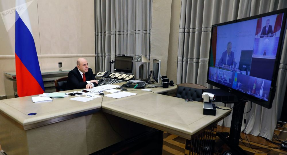 Председатель правительства РФ Михаил Мишустин во время заседания Евразийского межправительственного совета по видеоконференции