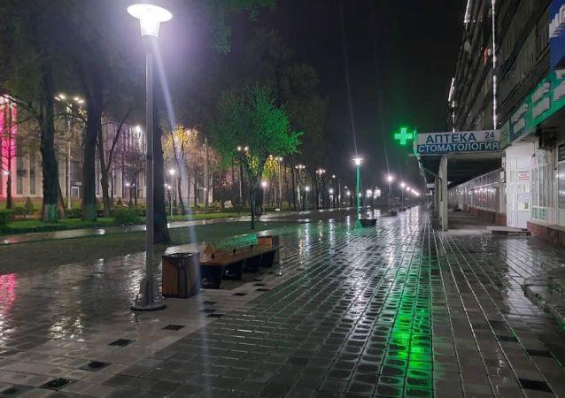 В пешеходной зоне возле магазина Океан на пересечении проспектов Манаса и Чуй провели освещение