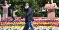 Мужчина в лицевой маске ходит среди цветущих тюльпанов в центре Бишкека на фоне пандемии коронавируса COVID-19. 20 апреля 2020 года