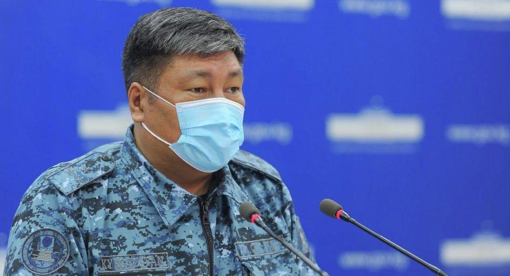 Комендант города Бишкек Алмаз Орозалиев на брифинге по ситуации в городе из-за коронавируса