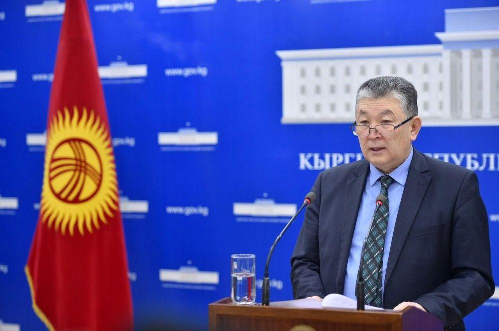 Заместитель министра здравоохранения Нурболот Усенбаев на брифинге Минздрава КР. 22 апреля 2020 года