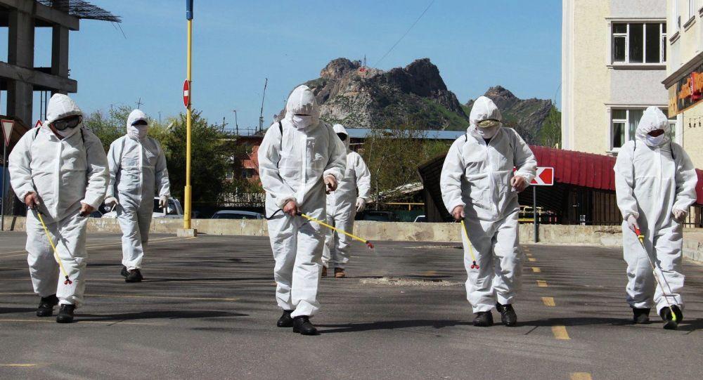 Специалисты городской дезинфекционной станции во время дезинфекции улиц в городе Ош