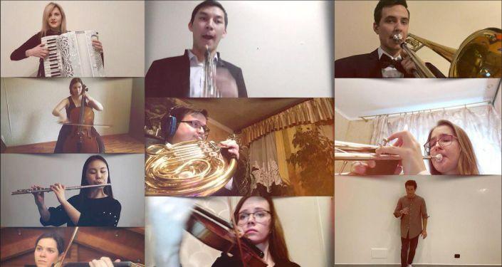 Скриншоты онлайн-репетиций оркестра по видеосвязи