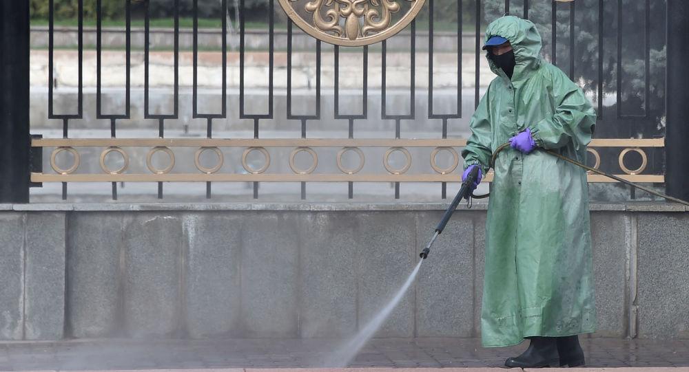 Муниципальный работник дезинфицирует улицу перед зданием парламента в качестве меры против пандемии коронавируса COVID-19 в Бишкеке. 26 марта 2020 года