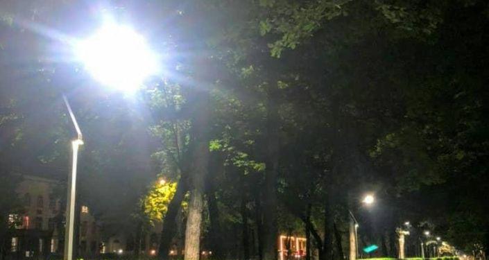 На новой велодорожке в Бишкеке установили освещение в стиле хай-тек