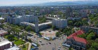 Вид на пересечение проспекта Чуй и улицы Абдрахманова, после завершения режима чрезвычайного положения в Бишкеке