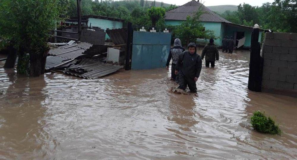 Последствия сильных осадков подтоплены 24 жилых домов и 60 дворовых участков в населенном пункте Елтай в Енбекшинском районе г. Шымкент