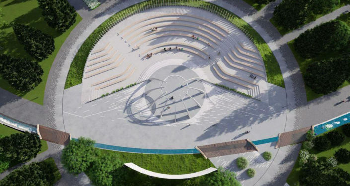 Эскиз амфитеатра на территории будущего парка Ынтымак-2 в Бишкеке