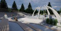 Болочоктогу Ынтымак-2 деп аталган парктын курулуп жаткан амфитеатрынын эскизи